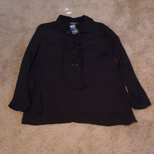 Lulu's Black tie up long sleeve blouse